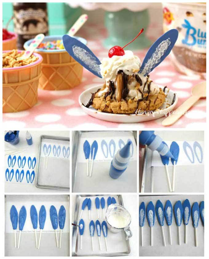 blue bunny ear lollipops hot fudge sundae