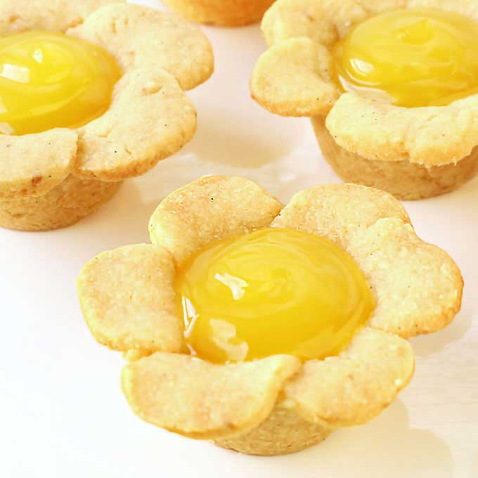 Sweet daisy shaped linzer cookie cups filled with creamy and bright lemon curd make for a festive spring or summer dessert.