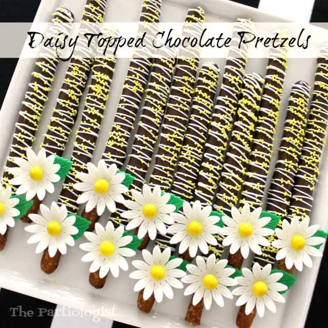 Daisy topped chocolate pretzels