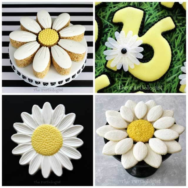 chocolate daisies, daisy rice krispie treats, daisy cookies