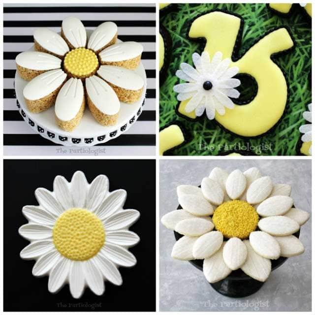 chocolate daisies, daisy rice krispie treats, daisy cookies