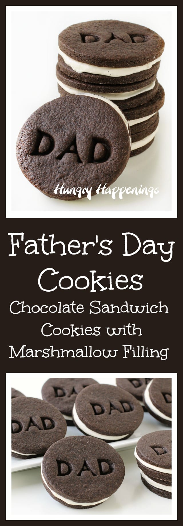 "Surprise your dad this Father's Day by making him a batch of homemade chocolate sandwich cookies filled with marshmallow cream and imprinted with ""DAD"" on top. These Father's Day Cookies will make a great dessert or gift."
