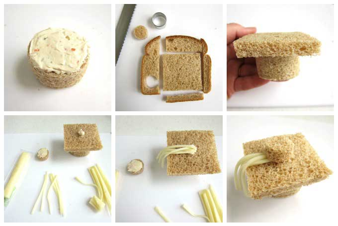 Graduation Party Appetizers - how to make grad cap sandwiches.