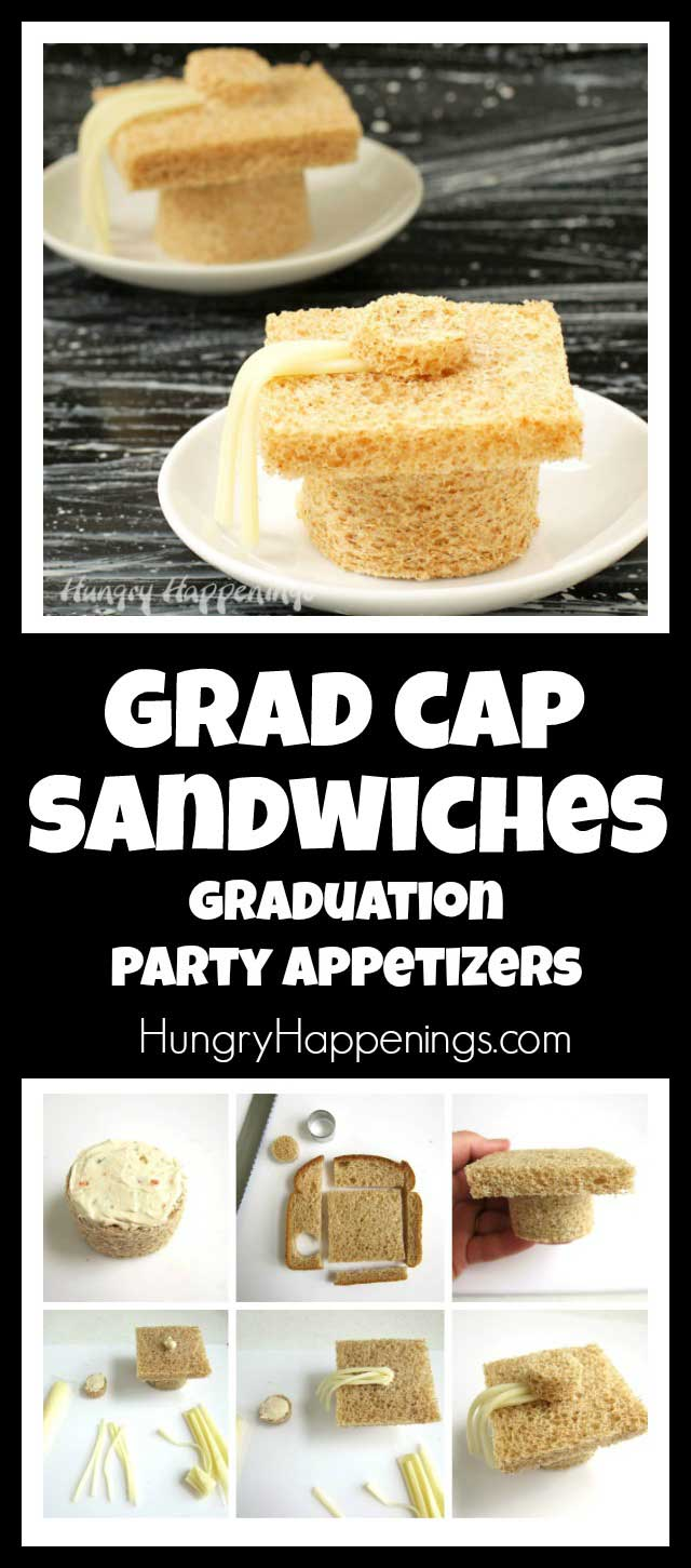 Use Nature's Own Life®100% Whole Wheat Bread to create fun grad cap sandwiches to celebrate your child's graduation. These fun graduation party appetizers are simple to make and will wow your guests and grad. #naturesownbread #ad