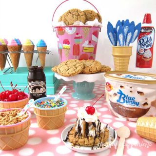 Hot Fudge Sundae with Blue Bunny®PB 'n Cones™ Ice Cream Served on a Chewy Peanut Butter Cookie
