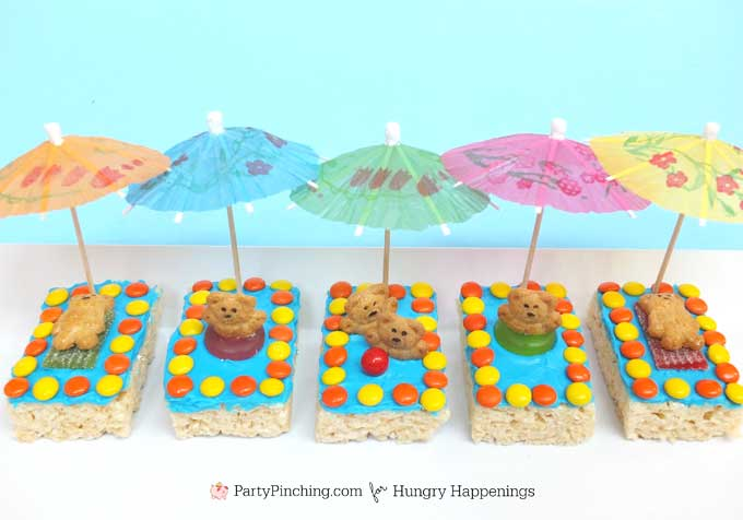 summer treats for kids -decorated rice krispie treat kiddie pools