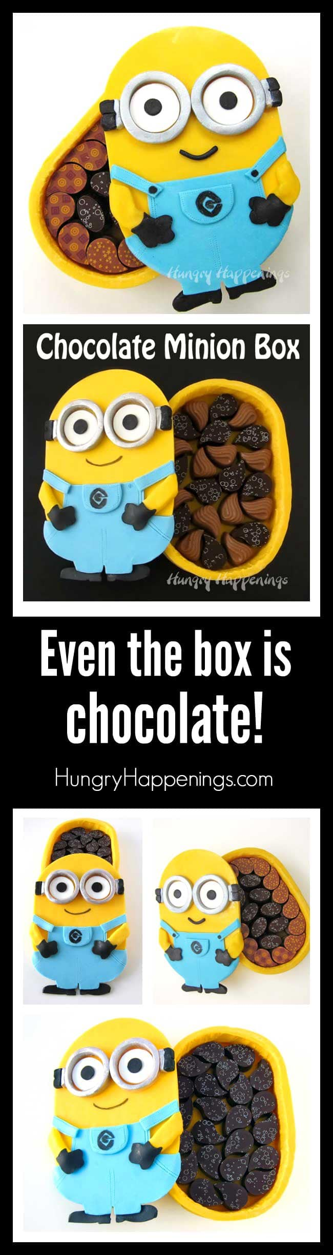 Create an entirely edible Chocolate Minion Box that is decorated with candy clay (modeling chocolate) and is filled with your favorite chocolates. The WHOLE BOX IS CHOCOLATE!!!