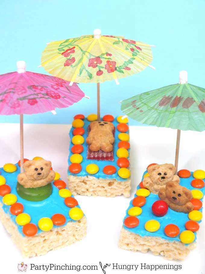 Fun summer treats - Rice Krispie Treat Pools with Teddy Graham Swimmers