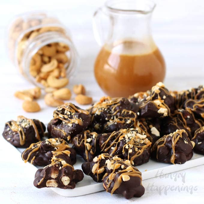 Chocolate Caramel Cashew Clusters - Easy Homemade Candy