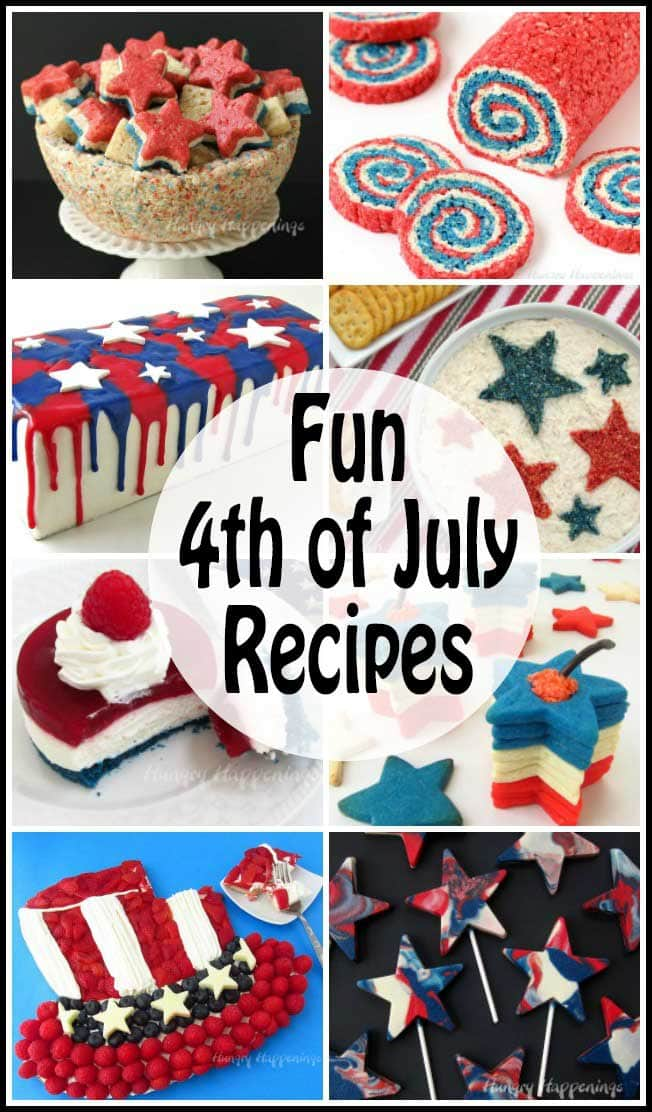 "Make fun 4th of July recipes for your party or picnic. These red, white and blue desserts and appetizers will make your guests ""ooh and aah."""