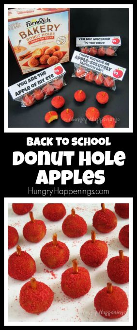 Surprise your kids with this fun back to school treat. They'll be so excited to find a bag of Donut Hole Apples in their lunchbox or backpack.