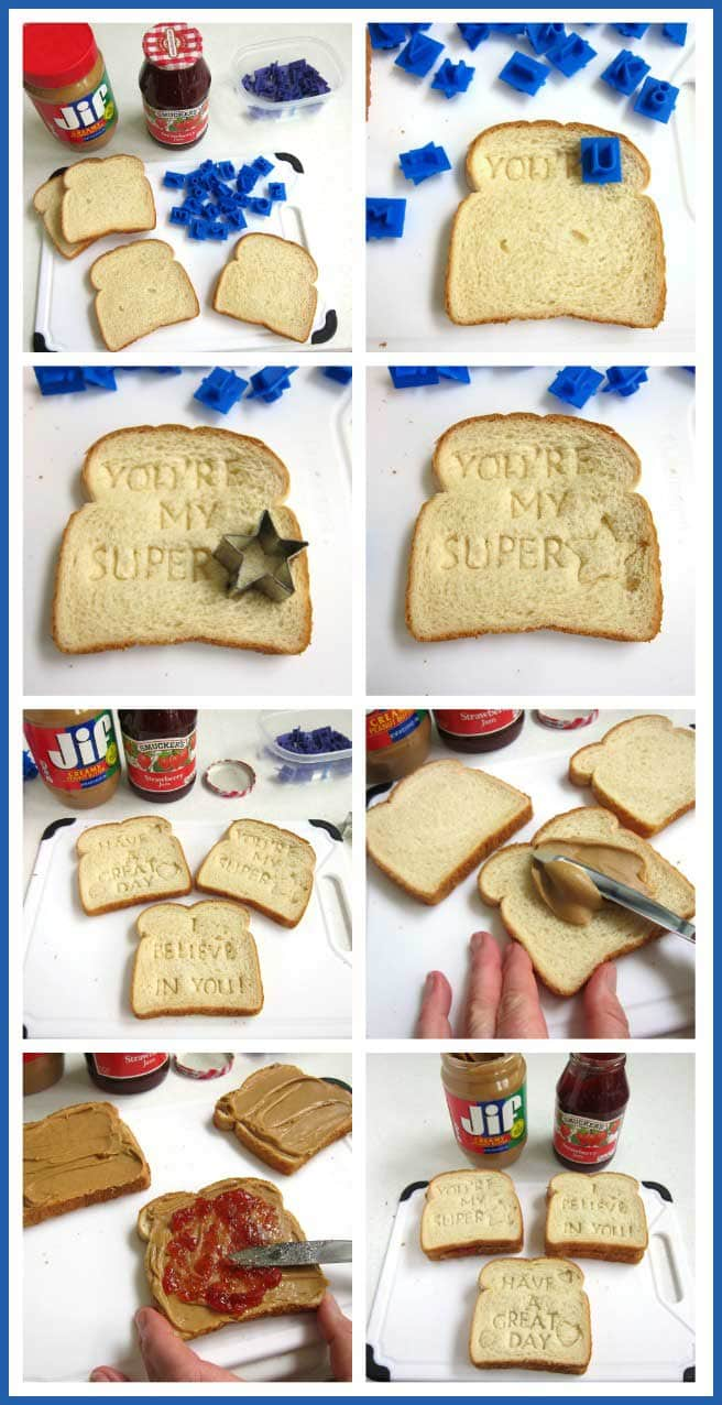 Surprise your kids by stamping a sweet message onto their PB&J Sandwich. This cute Back to School Lunch will make their day special and it's so easy to do.