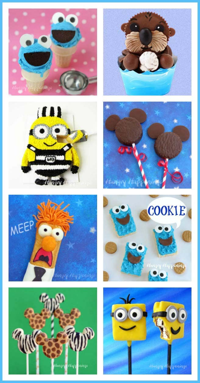 Cute cartoon characters come to live as sweet snacks. See the tutorials to make these fun desserts at HungryHappenings.com.