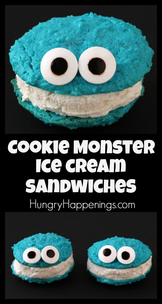 Your kids are going to go nuts when you make them these Cookie Monster Ice Cream Sandwiches and you will love how easy they are to create. Just add candy eyes to blue cookies to make adorable Cookies Monsters then sandwich ice cream in between to make these sweet treats.