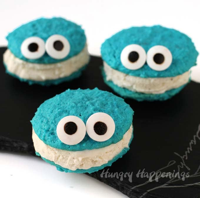 Cutest cookie monster cookies are turned into ice cream sandwiches.