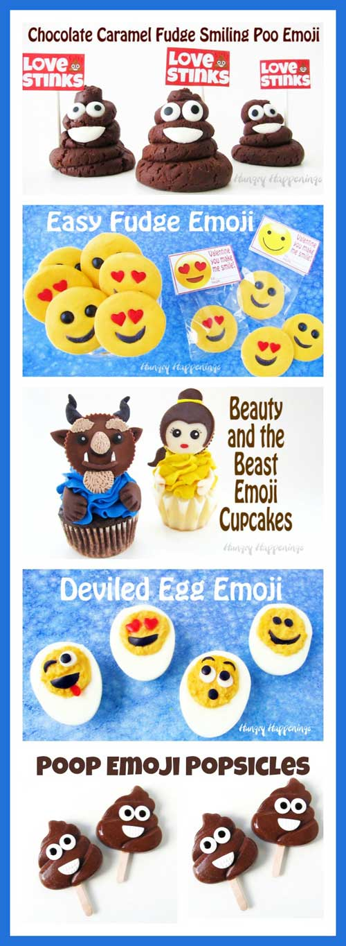 Cute Emoji Themed Treats - Chocolate Smiling Poo Emoji, Smiley Face Emoji Fudge, Beauty and the Beast Emoji Cupcakes, Deviled Egg Emoji, Poop Emoji Popsicles. Recipes at HungryHappenings.com.