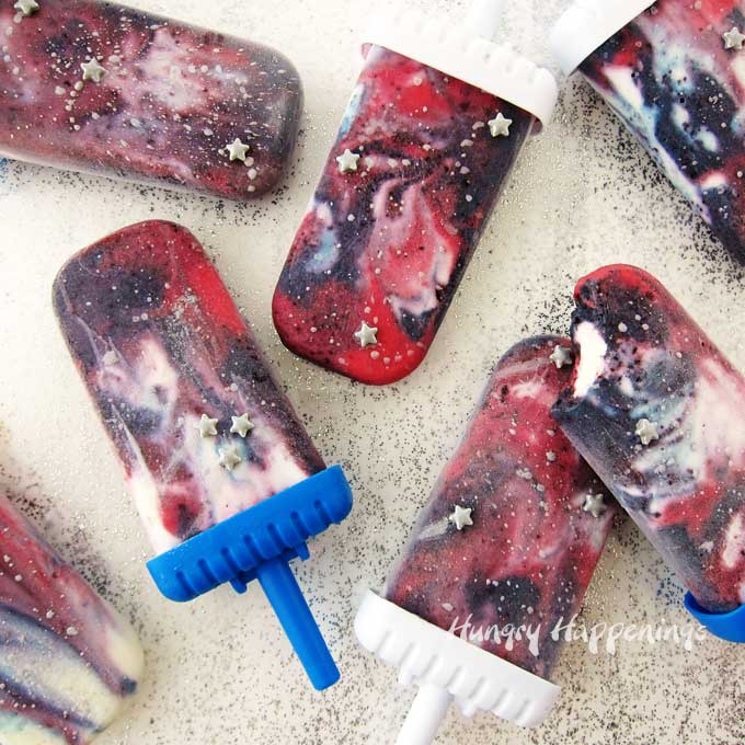 Galaxy Popsicles Berry Cheesecake Pops