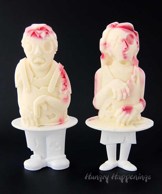 Raspberry Cheesecake Zombie Popsicles are perfect for Halloween or Walking Dead parties.