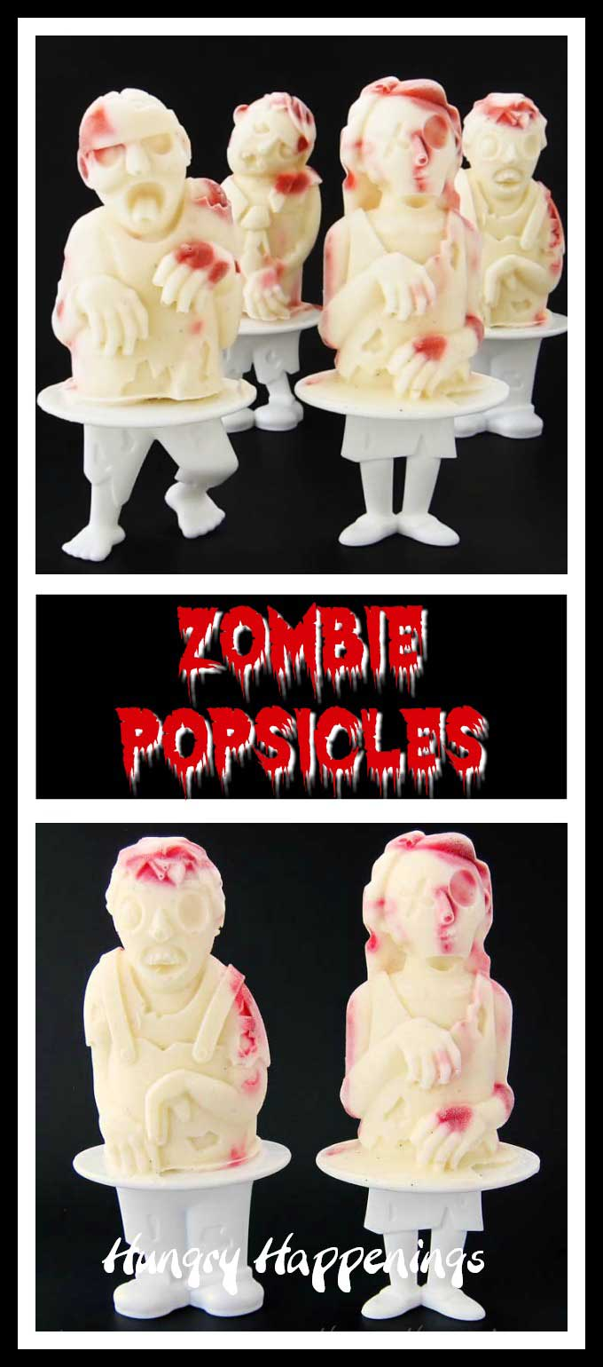 Creep out your friends by serving these bloody 3-D Raspberry Cheesecake Zombie Popsicles at your Halloween party or The Walking Dead, iZombie, or Z Nation watching event.