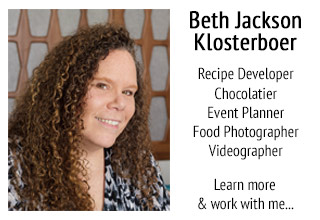 Beth Klosterboer, recipe developer, chocolatier, and food blogger.