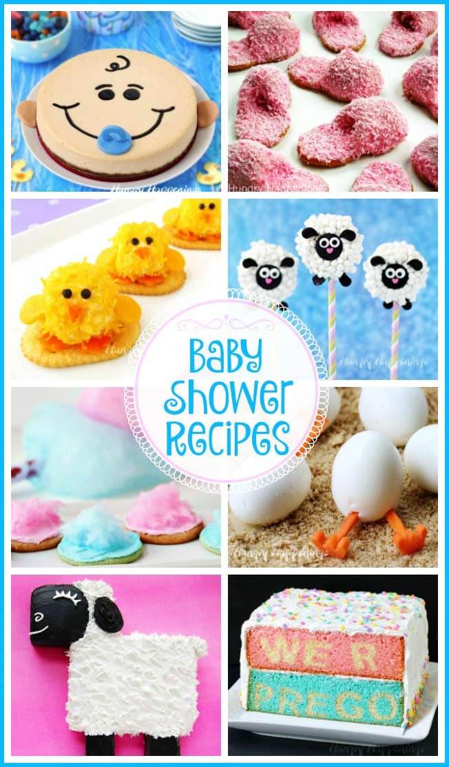 Add some sweet touches to a baby shower by making some adorably cute desserts and appetizers. These fun Baby Shower Recipes are sure to make the mother-to-be smile.