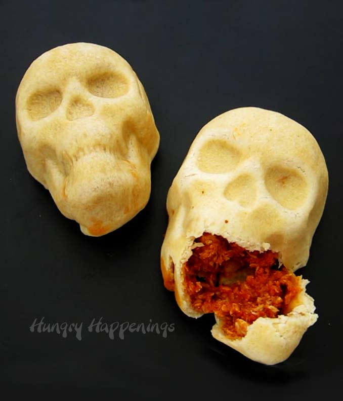 Chicken and Cheese Enchilada Skulls - creepy Halloween dinner.