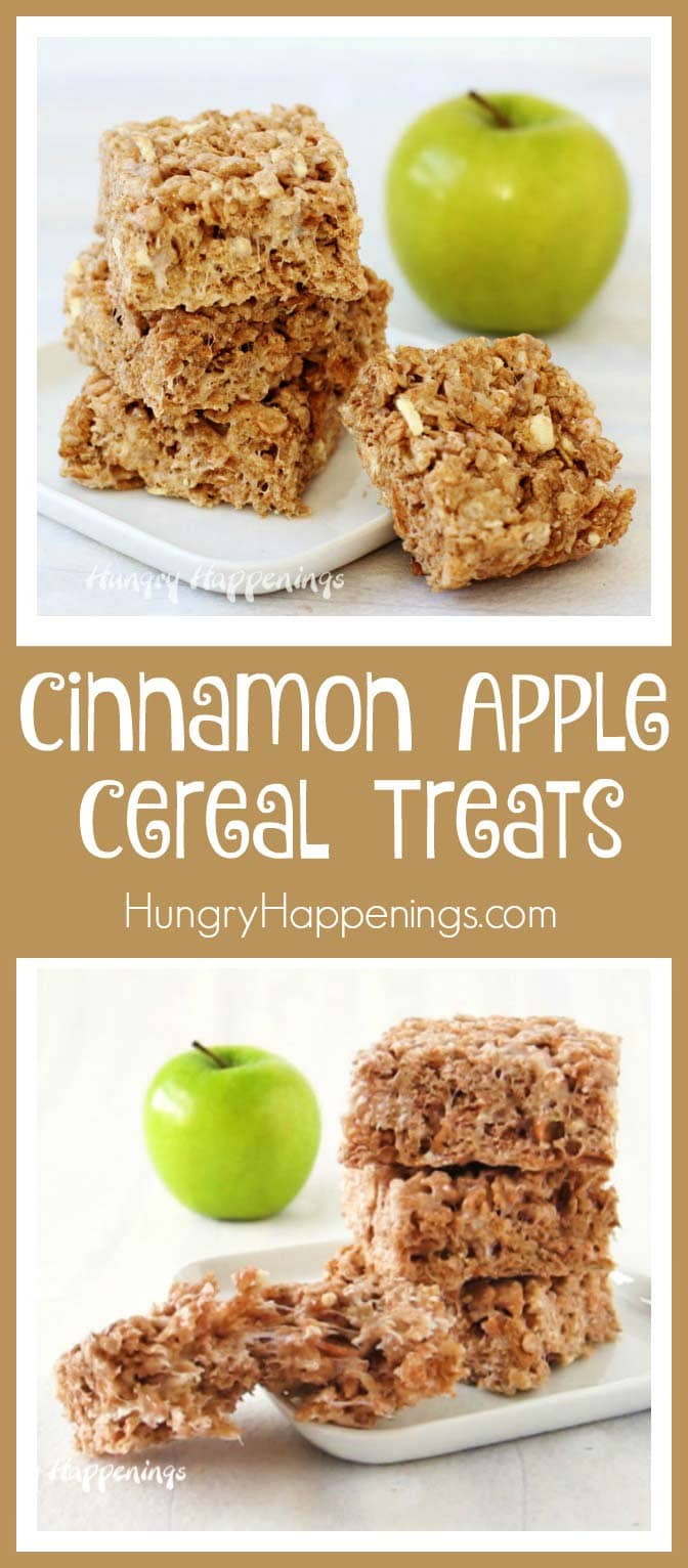 Enjoy the taste of fall when you make these quick and easy Cinnamon Apple Cereal Treats. With each bite you'll taste bits of apple and marshmallow blended with cinnamon sugar coated cereal.
