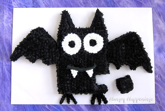 Easy cut-apart bat cake for Halloween.