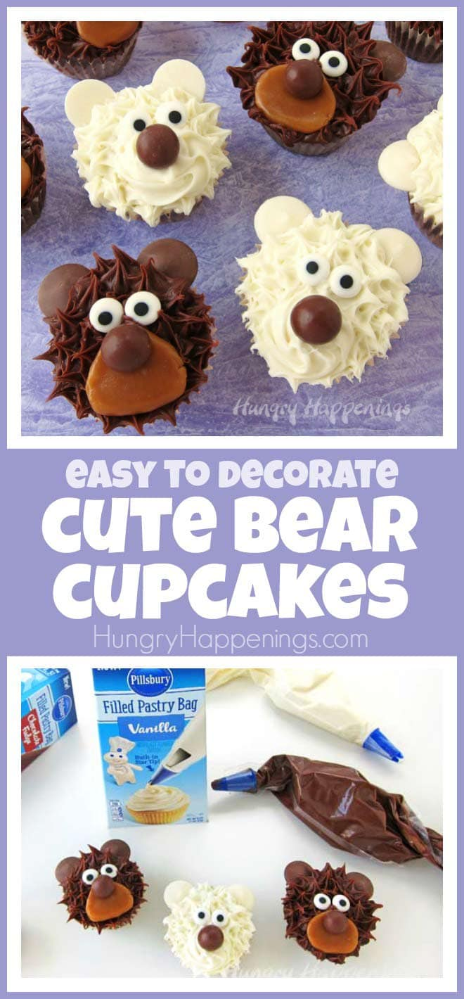 These cute bear cupcakes are so fun and can be made quickly using an easy cupcake decorating technique.