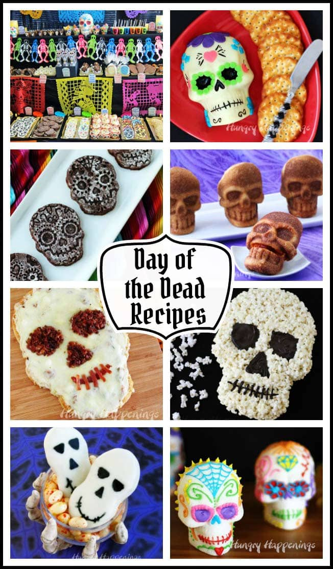 Day of the Dead Recipes - Skull shaped food including Pizza Skulls and Sweet Sugar Skull Brownies.