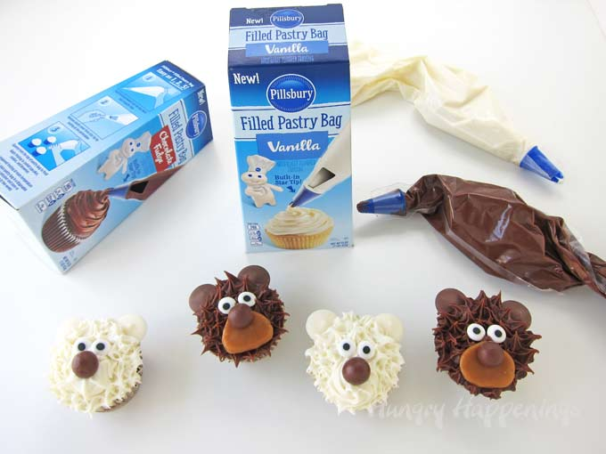 Easy cupcake decorating idea. Use Pillsbury Filled Pastry Bags to make Cupcake Bears.