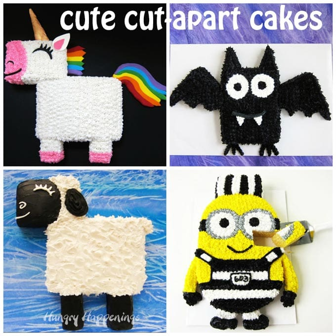 Easy cut-apart cakes made using a 9 X 13 inch sheet cake.