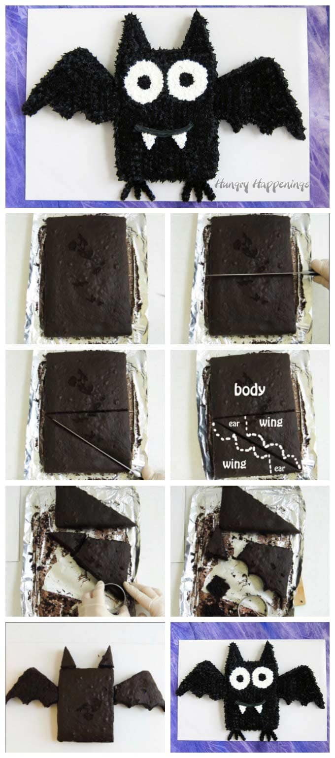 How to make a cut-apart bat cake for Halloween.