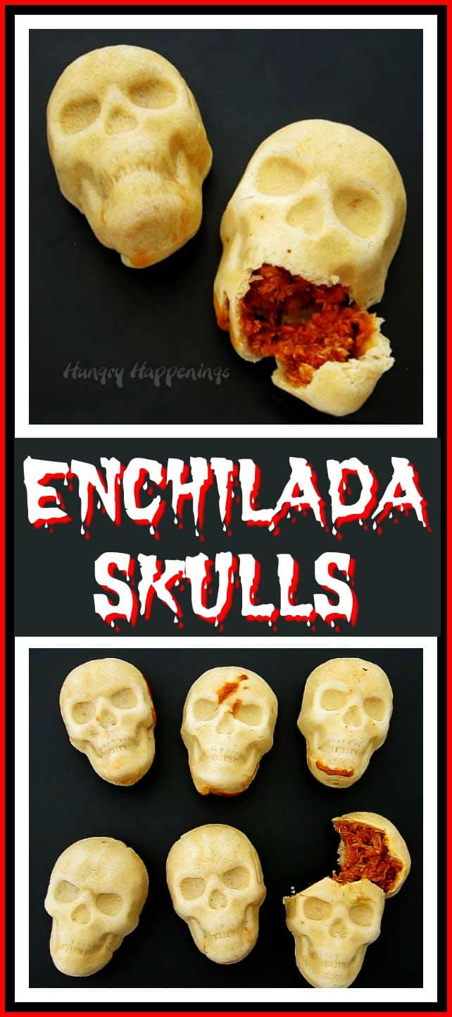 Bake up homemade tortillas filled with chicken, cheese, and enchilada sauce in a 3D pan to create these creepy Enchilada Skulls. Your Halloween party guests or Day of the Dead dinner guests will be amazed.
