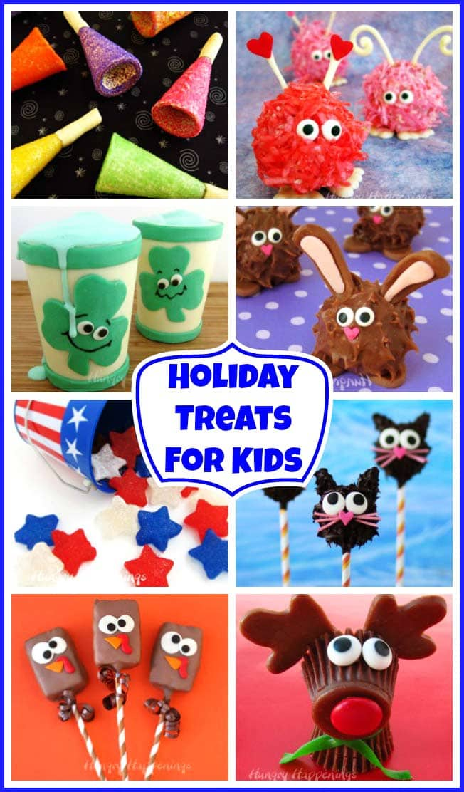 Celebrate New Year's, Valentine's Day, St. Patrick's Day, Easter, 4th of July, Halloween, Thanksgiving, and Christmas by making some fun Holiday Treats for Kids. These cute snacks will brighten any child's holiday.