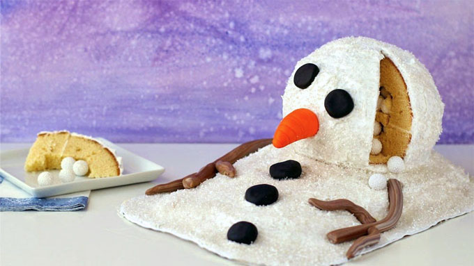 Melting Snowman Cake with candy hiding inside
