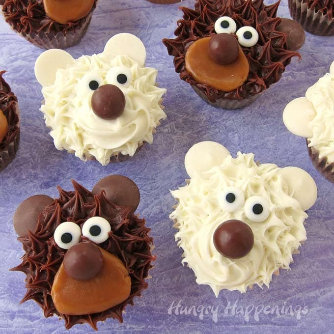 Limited on time? Use this easy cupcake decorating idea to make adorable teddy bear and polar bear cupcakes. Everyone will think you spent all day creating these adorable treats.