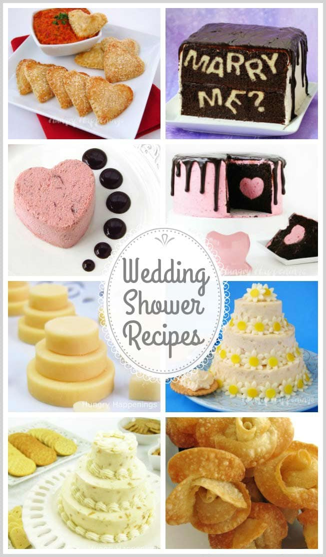 Add some beautiful touches to the dessert and appetizer table at your wedding or bridal shower. These wedding shower recipes will be almost as lovely as the bride to be on her special day.