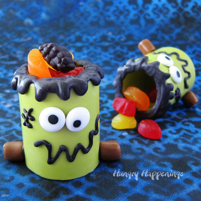 Frankenstein Snack Cups filled with Welch's Fruit Snacks