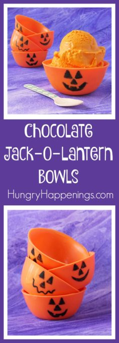 Learn how to make Chocolate Jack-O-Lantern Bowls for Halloween using a plastic bowl as a mold instead of a balloon. Then fill them with candy or homemade no-churn orange ice cream.