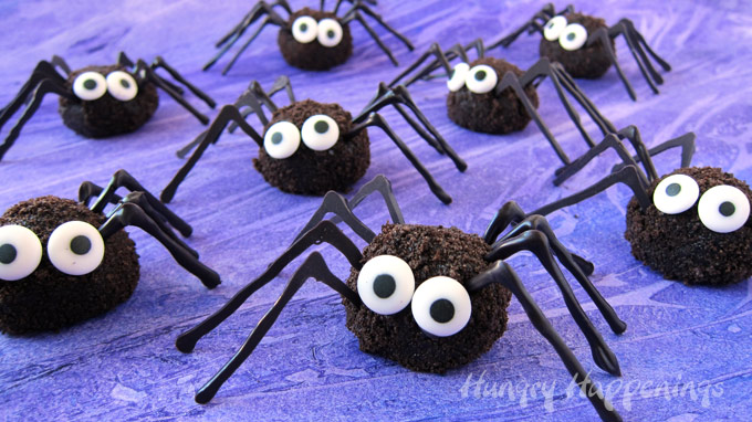 Chocolate Oreo Truffle Spiders have eight chocolate legs and big candy eyes.