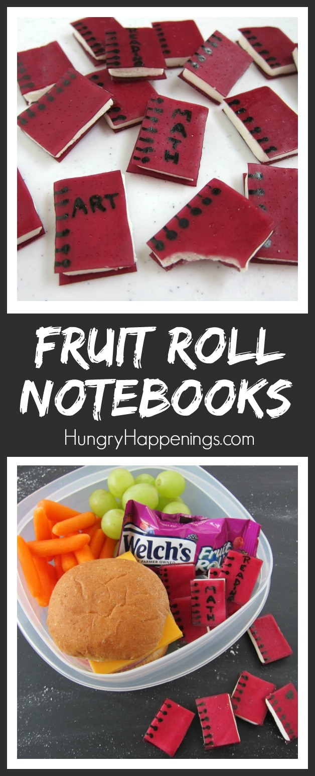Add some fun to your kid's lunchbox by turning Welch's Fruit Rolls into adorable little Fudgy Fruit Roll Notebooks. This back to school snack will earn you an A+!