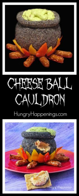 Conjure up some magic by serving a cheddar bacon cheese ball that looks like a witch's cauldron. This poppy seed coated Cheese Ball Cauldron with orange, yellow, and red pepper flames sitting atop pretzel rod logs will enchant your Halloween party guests.