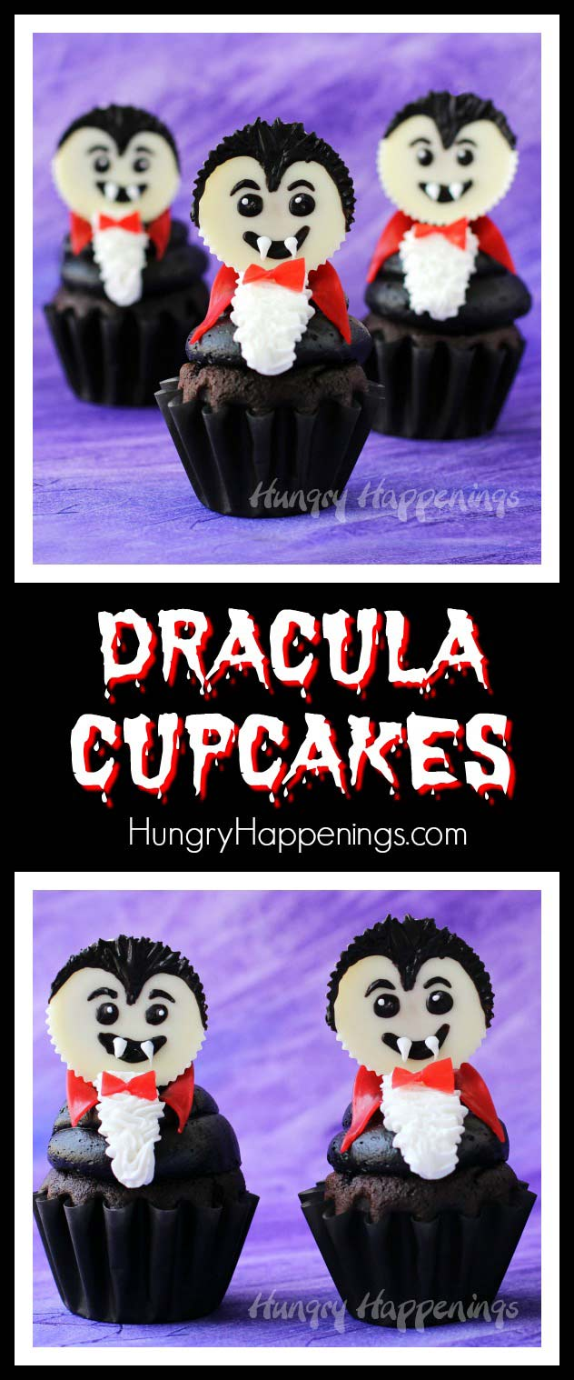 Top a chocolate cupcake with a big swirl of chocolate frosting and a white Reese's Cup vampire. These Dracula Cupcakes are frighteningly cute for Halloween.