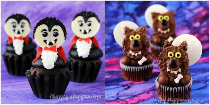 Halloween Cupcakes - Dracula (Vampire) and Werewolves
