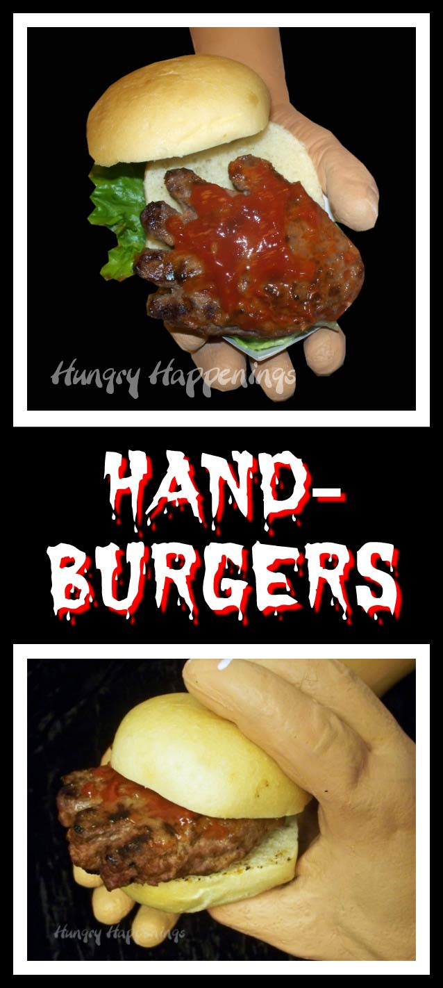 Creepy hand shaped hamburgers may gross out your Halloween party guests but they'll squeal in delight when they take their first bite. These Hand-Burgers are frighteningly good and are easy to make.