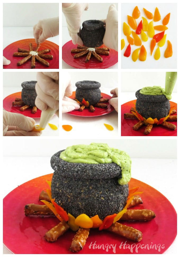 Arrange pretzel sticks around a spoonful of cream cheese then place the cauldron over top. Cut orange, yellow, and red peppers into flames and attach them around the base of the cauldron using cream cheese. Pipe guacamole in the top of the cauldron..
