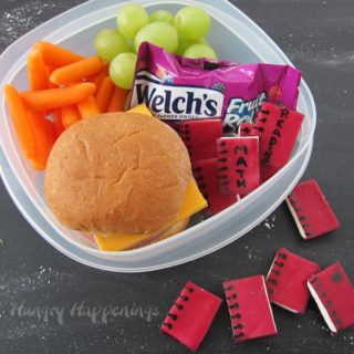 Fudgy Fruit Roll Notebooks make a fun back to school snack.