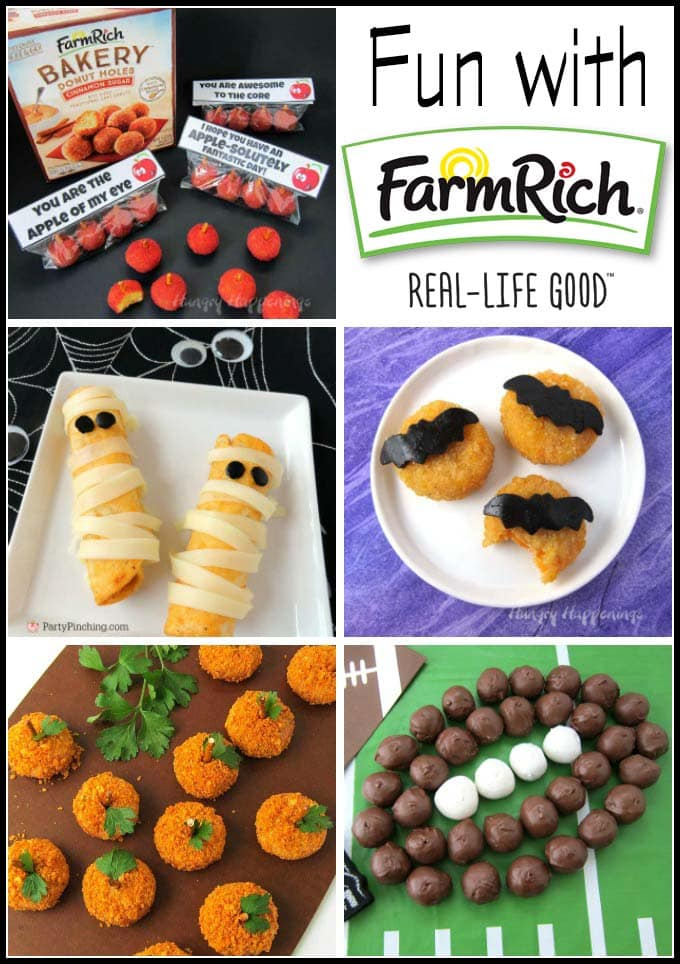 Have fun with Farm Rich making cute snacks for fall, Halloween, and football season.