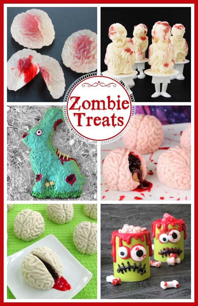 Make some zombie themed treats for your Halloween or zombie themed party. See recipes for gumdrop brains, zombie popsicles, zombie candy cups and more.